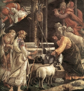 Moses_at_the_Well_-_Scenes_from_the_Life_of_Moses_Botticelli